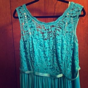 Malibu blue long lace formal dress